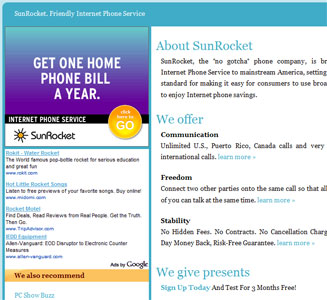 SunRocket VoIP Landing Page
